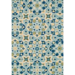 Hand-hooked Charlotte Turquoise/ Sea Kaleidoscope Rug (2'3 x 3'9)