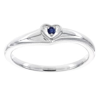 H Star Sterling Silver Round Sapphire Heart Promise Ring