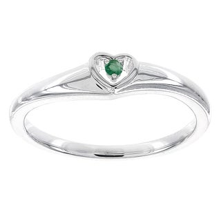 H Star Sterling Silver Round Emerald Heart Promise Ring