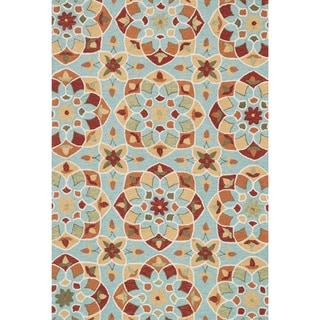 Hand-hooked Charlotte Turquoise/ Gold Kaleidoscope Rug (7'6 x 9'6)