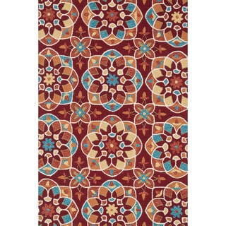 Hand-hooked Charlotte Red/ Spice Kaleidoscope Rug (3'6 x 5'6)