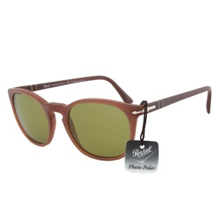 Persol PO3007S 902234 Polarized Sunglasses in Matte Brown Frame and Green Lenses