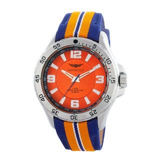 Gianello Racing Stripe Grosgrain Strap Sport Watch