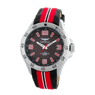 Gianello Racing Stripe Grosgrain Strap Sport Watch