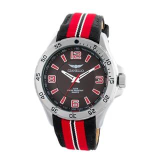 Gianello Racing Stripe Grosgrain Strap Sport Watch|https://ak1.ostkcdn.com/images/products/10664732/P17730119.jpg?impolicy=medium