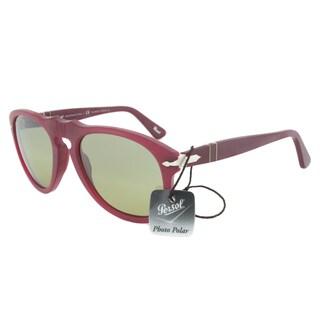 Persol PO0649 902183 Polarized Sunglasses in Granato Frame and Green Polarized Lenses