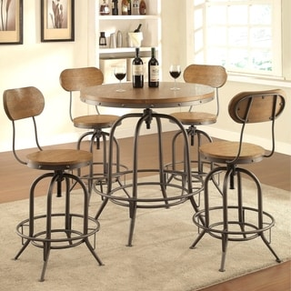 Rolien Nostalgic Farmhouse Distressed Wood Adjustable Bar Table and Stools 5-piece Set