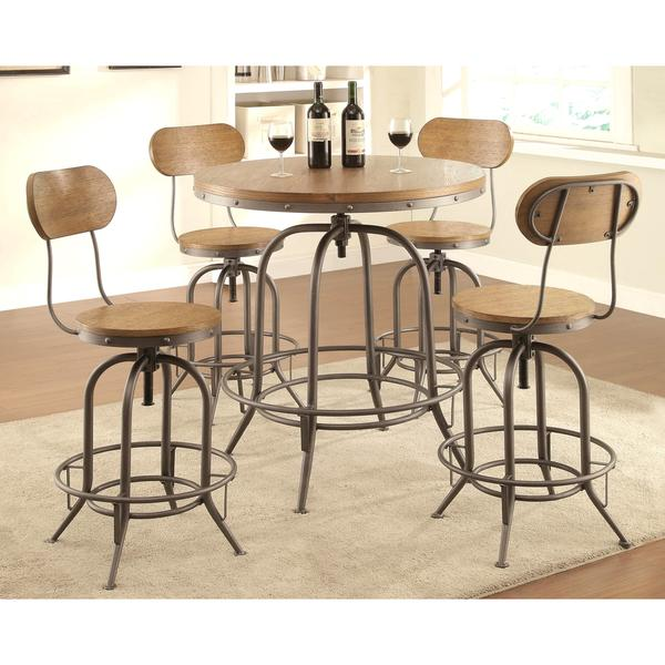Rolien Nostalgic Farmhouse Distressed Wood Adjustable Bar Table And Stools  5 Piece Set