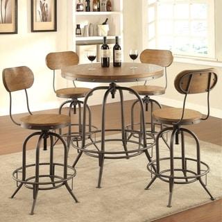 Rolien Nostalgic Farmhouse Distressed Wood Adjustable Bar Table and Stools 5-piece Set