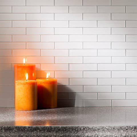 Aspect Glass Matted Subway Tile in Frost 15-square Foot Kit