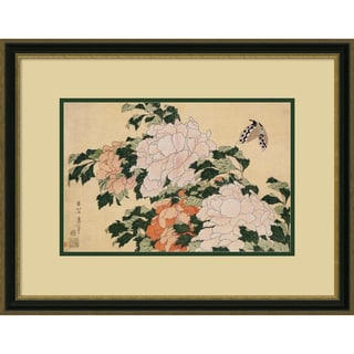 Katsushika Hokusai 'Pink and Red Peonies' Framed Art Print 25 x 19-inch