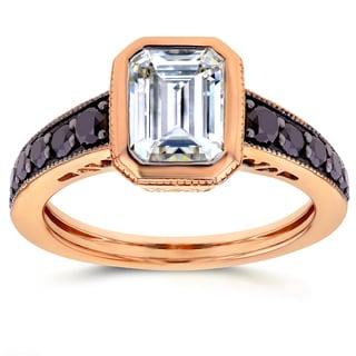 Annello by Kobelli 14k Rose Gold Forever Brilliant Emerald Moissanite Bezel and 2/5ct TDW Black Diam
