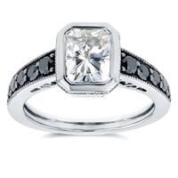 Annello by Kobelli 14k White Gold 2 1/4ct TGW Radiant Bezel Moissanite (FG) and Black Diamond Vintage Art Deco Ring