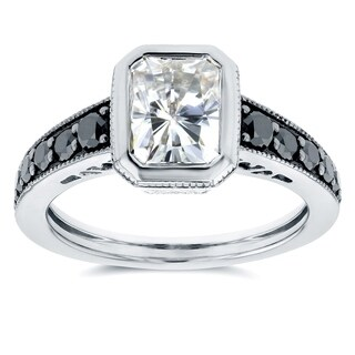 Annello by Kobelli 14k White Gold 2 1/4ct TGW Radiant Bezel Moissanite (FG) and Black Diamond Vintage Art Deco Ring