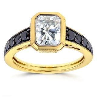 Annello by Kobelli 14k Yellow Gold Forever Brilliant Radiant Moissanite Bezel and 2/5ct TDW Black Diamond Ring by Kobelli
