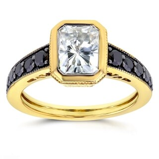 Annello by Kobelli 14k Yellow Gold Forever Brilliant Radiant Moissanite Bezel and 2/5ct TDW Black Di