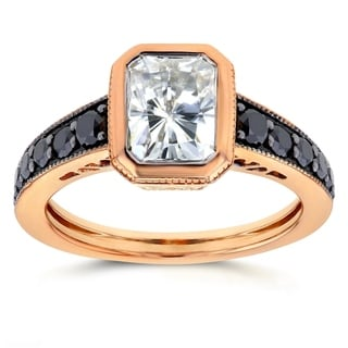 Annello by Kobelli 14k Rose Gold Forever Brilliant Radiant Moissanite Bezel and 2/5ct TDW Black Diamond Ring by Kobelli