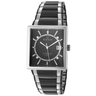EDOX Les Bemonts ED-82005 357N NIN Men's Black/ Silver Rectangular Automatic Watch
