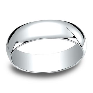 18k White Gold Men's 6mm Traditional Wedding Band