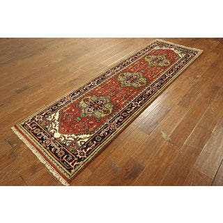 Red Heriz With Tribal Designs Hand-knotted Wool Serapi Oriental Rug (3' x 8')