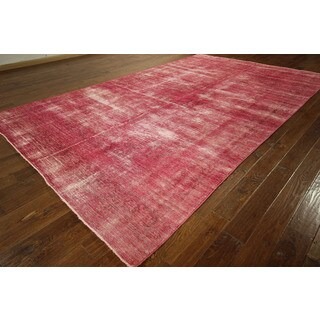Pink Overdyed Rug Floral Hand-Knotted Oriental Persian Area Rugs x (8' x 13')