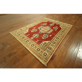 Super Kazak Caucasian Hand-knotted Red Wool Rug (4' 2 x 5' 4)