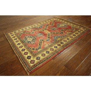 Red Wool Antiqued Hand-knotted Oriental Super Kazak Rug (3' 9 x 5' 1)