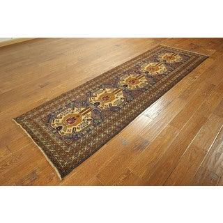 Traditional Hand-knotted Tribal Balouch Runner Royal Blue Wool Rug (3' x 9')