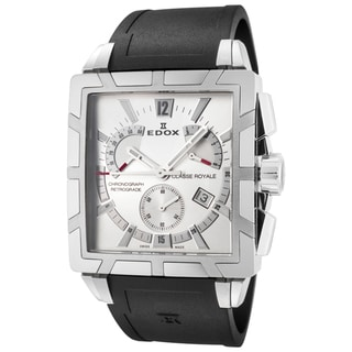 EDOX Classe Royale ED-01504 3 AIN Men's Silver/ White Watch with Black Strap