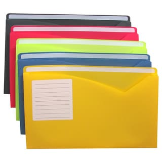 C-Line Products Write-on Poly File Jackets, Assorted, 8.5x11-inches 10/PK (Set of 2 Packs)