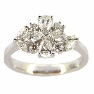 Kabella 18k White Gold 6/7ct TDW Pear-cut Diamond Ring (G-H, SI1)
