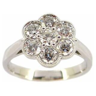 Kabella 14k White Gold 1ct TDW Diamond Flower Ring (G-H, SI1)