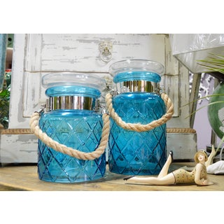Blue Canister Jars With Rope Handles (Set of 2)