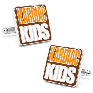 Silvertone Metal Cleveland Browns 'Kardiac Kids' Cufflinks