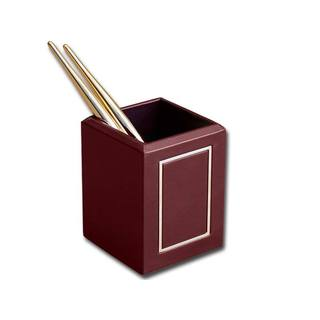 Dacasso Burgundy 24-karat Gold Tooled Pencil Cup