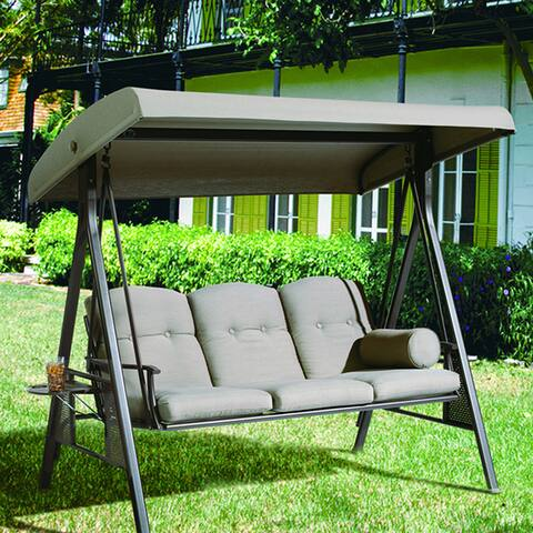 Havenside Home Baddeck Taupe 3-seat Outdoor Porch Swing Hammock with Adjustable Canopy