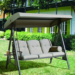 Abba Patio 3 Seat Outdoor Polyester Canopy Porch Swing Hammock with Steel Frame and Adjustable Canopy, Taupe|https://ak1.ostkcdn.com/images/products/10665103/P17730426.jpg?impolicy=medium