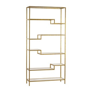 Sterling Gold Mirrored Shelving Unit