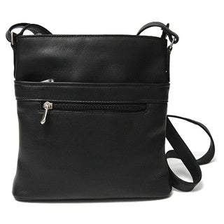 Royce Leather Colombian Genuine Leather Triple Zip Crossbody Bag