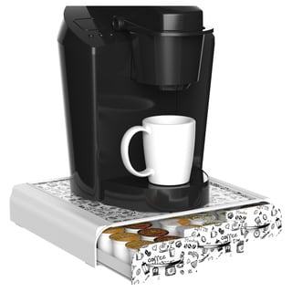 Mind Reader 'Anchor' Coffee Pod Triple Drawer 36 Capacity -White Print