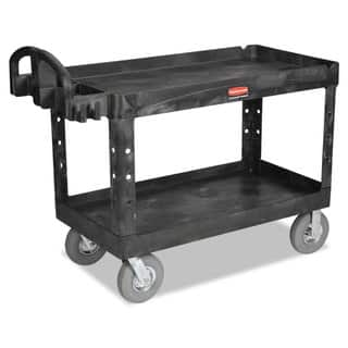 Rubbermaid Commercial Black Two-Shelf Heavy-Duty Utility Cart|https://ak1.ostkcdn.com/images/products/10665193/P17730506.jpg?impolicy=medium