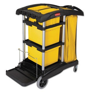 Rubbermaid Commercial HYGEN Black/Yellow/Silver M-fiber Healthcare Cleaning Cart