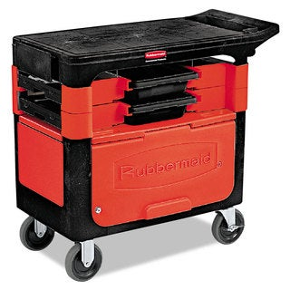 Rubbermaid Commercial Black Two-Shelf Locking Trades Cart
