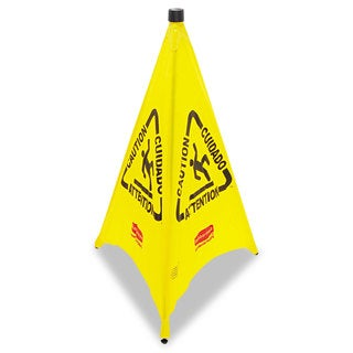 Rubbermaid Commercial Yellow Three-Sided Caution, Wet Floor Safety Cone