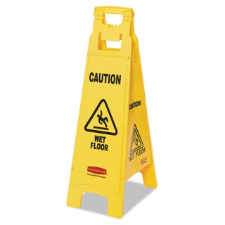Rubbermaid Commercial Yellow Caution Wet Floor Floor Sign
