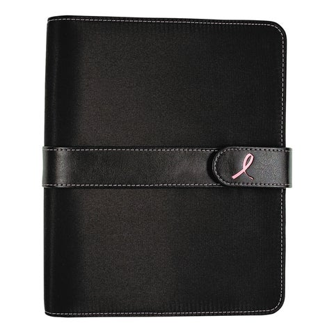 Day-Timer Pink Ribbon Loose-Leaf Organizer Set, 5 1/2 x 8 1/2, Black Microfiber Cover
