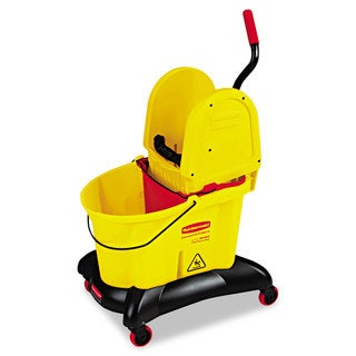 Rubbermaid Commercial WaveBrake Yellow Dual-Water Down-Press Bucket/Wringer Combo