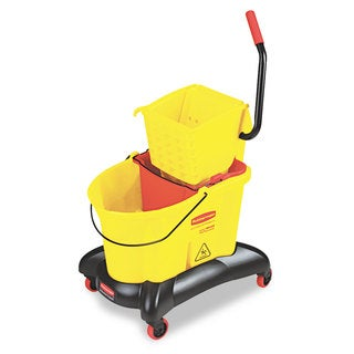 Rubbermaid Commercial Wavebrake 35 Qt Dual Water Side Press Yellow Mop Bucket & Wringer