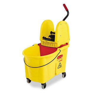 Rubbermaid Commercial WaveBrake 44 Quart Yellow Bucket/Downward Pressure Wringer Combination
