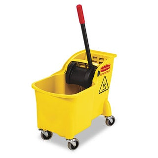 Rubbermaid Commercial Tandem 31qt Yellow Bucket/Wringer Combo